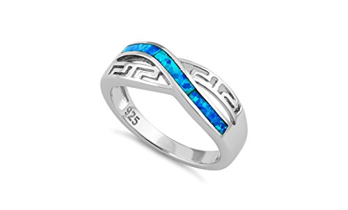 Opal Ring Blue Lab (NYC Sterling Women Silver Lab Created Blue Opal Geometric Design Ring (9))