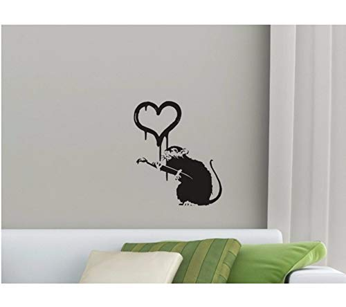 Dalxsh Cute Mouse Silhouette Art Wall Sticker with Heart Pattern Sweet Wall Decals for Home Bedroom Loving Decor Vinyl Wallpaper -