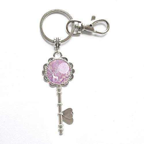 New Trendy Elk Deer Key Key Ring Key Keychain Round Glass Jewelry Christmas Gifts ren Silver Animal Photo Key Keychains,H160
