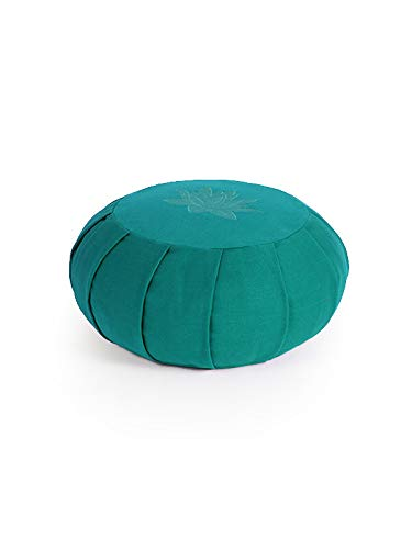 Yoga Studio Zafu - Cojín de meditación (Plisado, Redondo), diseño de Hojas de Loto, Verde a Rayas, Size: 36 cm in Diameter (Approx) - 17 cm Deep