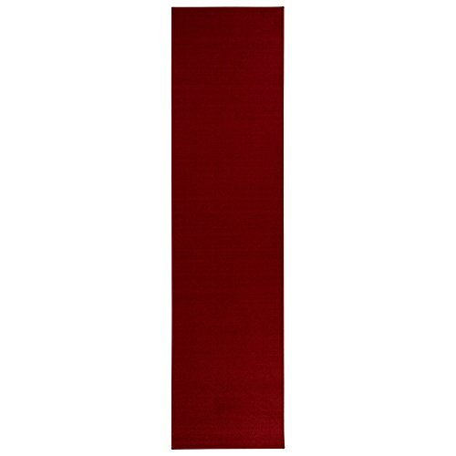Sweet Home Stores Clifton Collection Solid Design Rubberback Runner Rug, Red]()