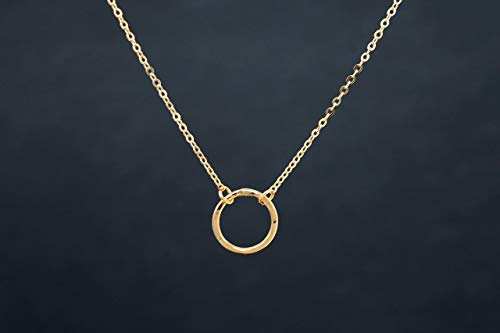 Dainty, Karma Ring Necklace, Eternity Necklace, 14K Gold Filled or Sterling -