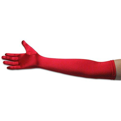 Long Red Nylon Gloves (22