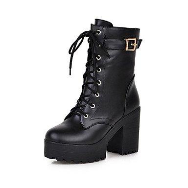 RTRY Zapatos De Mujer Invierno Polipiel Comodidad Novedad Moda Botas Botas Chunky Talón Puntera Redonda Mid-Calf Botas Para Vestimenta Casual Marrón Amarillo US8 / EU39 / UK6 / CN39