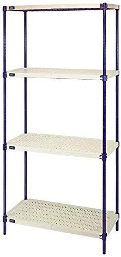 Quantum Storage 4-Shelf Wire Plastic Mat Shelving Unit, 600 lb Load Capacity per Shelf, 72