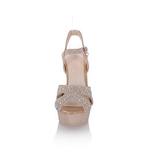 AllhqFashion Mujeres con Diamante de Imitación Hebilla Peep Tacón de aguja Sólido Sandalia Gold