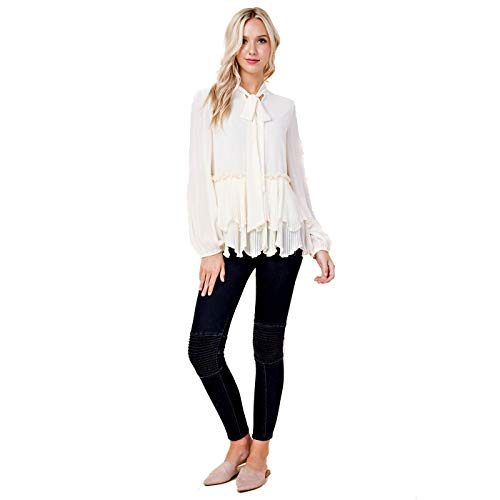 Blushing Heart Cream Off White Tie Neck Long Sleeve Ruffle Layer Blouse, Small