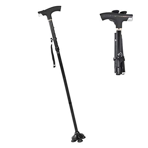 Four-Legged Walking Cane Foldable Walking Stick Arthritis Seniors Disabled and Elderly Mobility Aids Cane