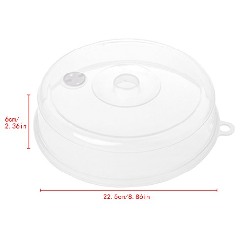 Milue Plastic Microwave Plate Cover Clear Steam Vent Splatter Lid Food Dish Kitchen Tools (L) - Cover Plate Polypropylene Clear
