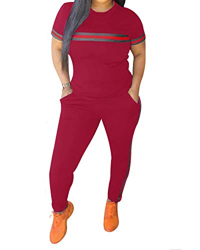 Red Velour Outfit - Top-Vigor Women 2 Pieces Sports Tracksuits Outfits Long Sleeve Top and Long Bodycon Pants Sweatsuits Set
