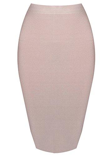 Aecibzo Women's Solid Color Knee Length Rayon Bodycon Bandage Skirt (M, Khaki)