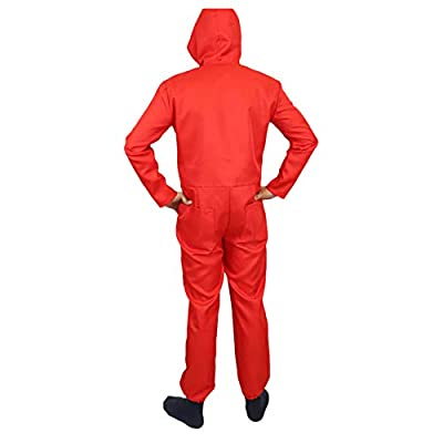 Hotcostyle Unisex Dali Mask Red Costume for La Casa De Papel Coverall Jumpsuits: Clothing