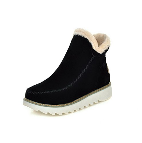 Allhqfashion Women's Frosted Pull-on Round Closed Toe Low-Heels Low-top Boots Black QPpjfKC0