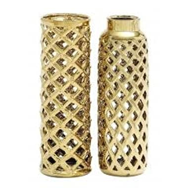 Exclusive Styled Shanghai Gold Ceramic Vase Set of 2 Home Decor