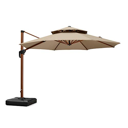 PURPLE LEAF 11 Feet Double Top Deluxe Sunbrella Wood Pattern Patio Umbrella Offset Hanging Umbrella Cantilever Umbrella Outdoor Market Umbrella Garden Umbrella, Beige