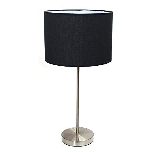 31VWvufUEOL - Simple Designs Home LT2040-BLK Brushed Nickel Stick Lamp with Fabric Shadeblack