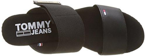 Tommy Jeans Black Femme 990 Plateforme Mix Sandales Material Noir Flatform rrqTU