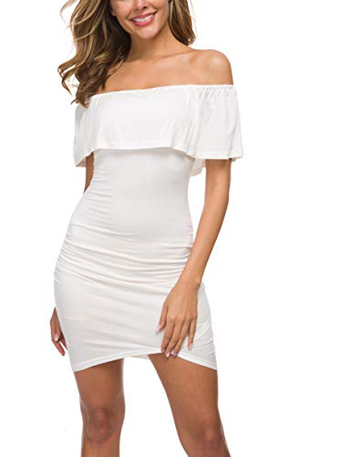 Missufe Women's Off Shoulder Ruffle Casual Ruched Bodycon Mini Dress Sundress (White, Large)