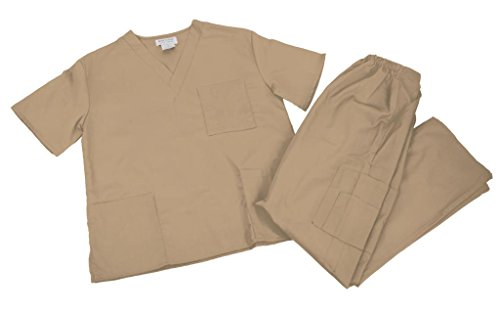 [NATURAL UNIFORMS Women's Scrub Set Medical Scrub Top and Pants, Large, Khaki] (Piper Chapman Costume)