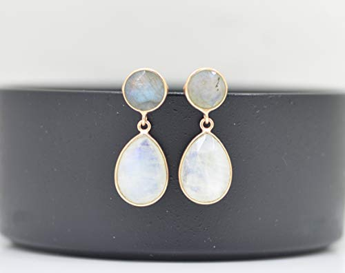 Teardrop Rainbow Moonstone Rose Gold Earring Silver 925, Pear Drop White Gemstone, -