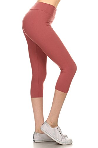 Leggings Depot Women's Yoga Gym High Waist reg/Plus Solid and Printed Workout Capri Leggings Pants 16+Colors (Wild Ginger, One Size (Size 0-12)) (Ginger 1)