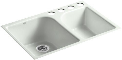(Kohler K-5931-4U-FF Executive Chef Undercounter Kitchen Sink with Four-Hole Oversized Faucet Drilling, Sea Salt )