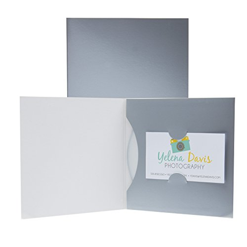 Paper CD or DVD and Business Card Holder Sleeve - 100 Pack (Silver)