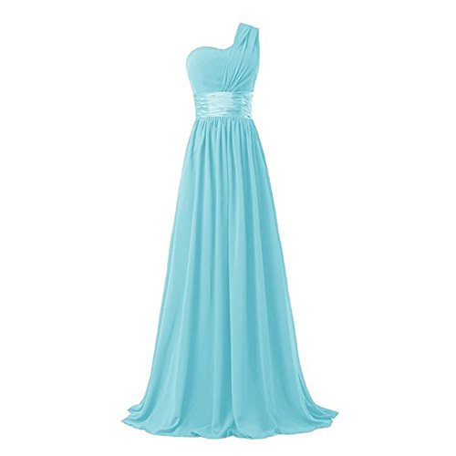 ZHIHONG Women's Chiffon One Shoulder Party Evening Gong Long Bridesmaids Dress (US 18, Sky Blue) Chiffon Sweetheart Neckline Column
