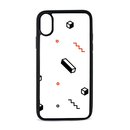 iPhone Solid Geometry Simple and Rational Cool Digital Print TPU Pc Pearl Plate Cover Phone Hard Case Cell Phone Accessories Compatible with Protective Apple Iphonex/xs Case 5.8 Inch