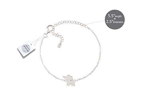 Vivid&Keith Womens Girls 925 Real Sterling Silver 18K Plated Swarovski Zirconia Cute Adjustable Animal Gift Fashion Jewelry Link Chain Charm Pendant Bangle Bracelet, Elephant, White Gold Plated