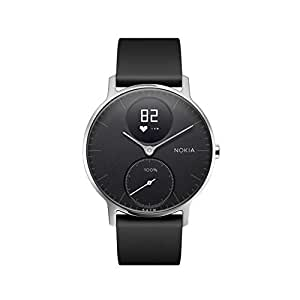 Nokia | Steel HR Hybrid Smartwatch - Activity Tracker, Heart Rate Monitor, Sleep Monitor, Water Resistant Smart Watch - Black Silicone Band (Silver/Black, 36mm)
