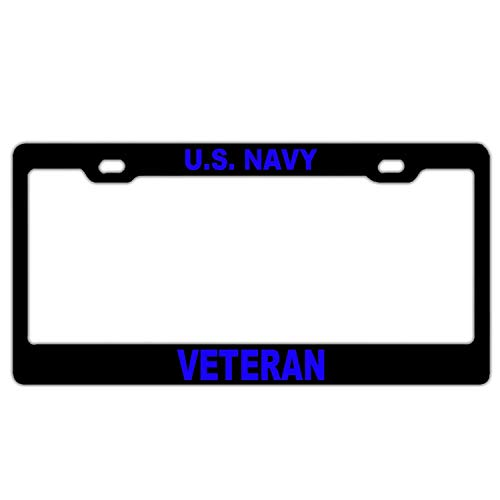 (YEX Abstract U.S. Navy Veteran Blue License Plate Frame Car Licence Plate Covers Auto Tag Holder 6