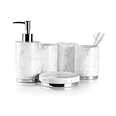 Willow&Ivory Bathroom Accessories Set | 5 Piece, Ceramic Bath Set | Toothbrush Holder, Soap Dispenser, Soap Dish, 2 Tumblers | Marble Collection - ✦ PRICELESS PORCELAIN | Bring forth the sophistication and poise that fine porcelain breathes | Our timeless 5 piece bathroom set consists of: 1 dispenser, 1 soap dish, 1 toothbrush holder & 2 tumblers, sculpted with milky white marble, and crisp polished steel ✦ EXUDE ELEGANCE | Our vow to excellence compels us to refine every detail, aspect and finish of our products until they bleed opulence | Resulting in the ultimate marriage of ceramic and steel, our pieces are assured to elevate any space for eons ✦ ARTISAN MADE | Produced by our seasoned artisans, each element is sculpted, fired and finished by the hands of our masters | Top up the dispenser with soap for your kitchen sink | Transform the toothbrush holder into as a luxurious pen & pencil organizer for your desk | Utilize our pieces to covet makeup brushes and sponges - bathroom-accessory-sets, bathroom-accessories, bathroom - 31VX3kGIxCL. SS400  -