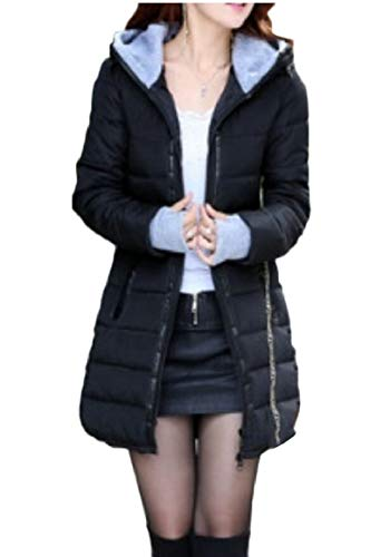 Black Winter Jacket Thumb Womens security Parka Hole Down Quilted Warm Hooded qRvW6n4w