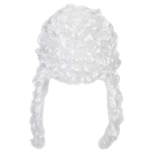 Bluecell White Color Deluxe Judge Lawyer Wig Costume Accessory -