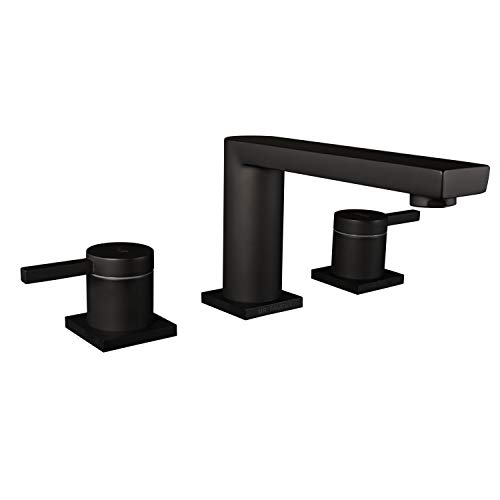 - MR. FAUCET 3 Hole Basin Deck Mount Two-Handle Widespread Bathroom Sink/Bathtub Faucet, Matte Black