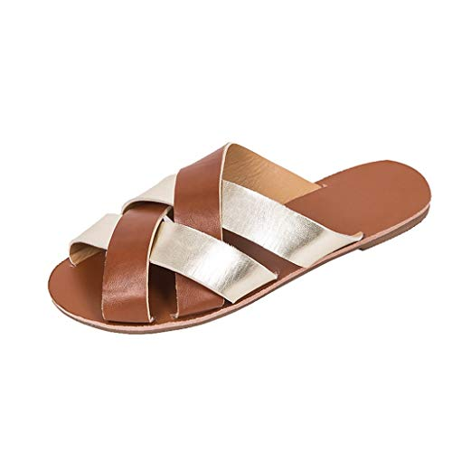 - SSYongxia❤ Girls Women's Summer Boho Sandals Slippers Mix Color Cross Sandals Casual Outdoor Beach Slippers Brown