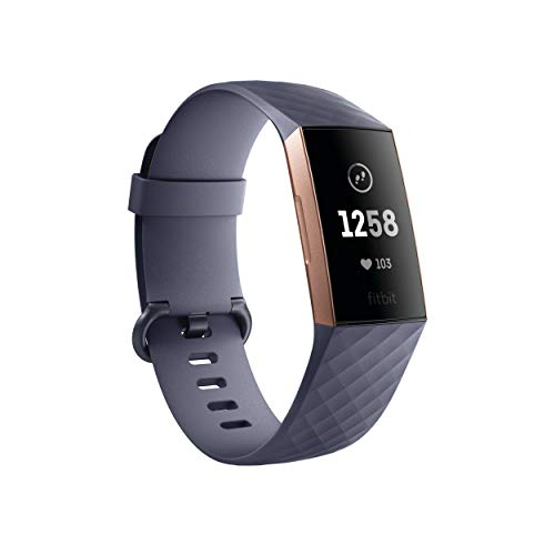 Fitbit Charge 3 Fitness Activity Tracker, Rose Gold/Blue Grey, One Size (S & L Bands Included), 1 Count