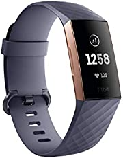 Fitbit Charge 3 Fitness Activity Tracker, Rose Gold/Blue Grey, One Size (S and L Bands Included)