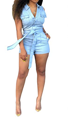 LROSEY Women's Sexy Sleeveless V Neck Button Down Denim Jumpsuit Jean Shorts Pants Romper with Pockets Belt Plus Size