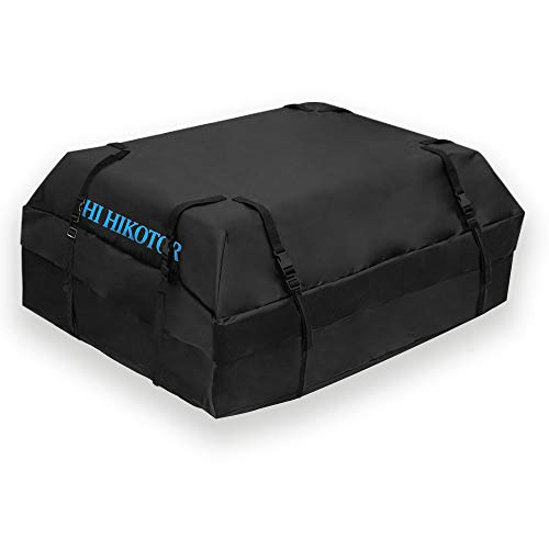 Car Top Carrier Roof Bag with 8 Reinfored Straps 100% Waterproof , Car Top Carriers for Vehicles with Racks - Car Roof Storage Car Carrier - Roof Bag includes Heavy Duty Straps - Fits All Roof Racks
