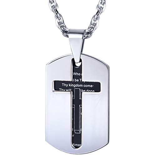 PROSTEEL Cross Dogtag Necklace Black Stainless Steel Pendant Chain God Bless Bible Lords Prayer Dog Tag Religious Gift Men Women Christian Jewelry