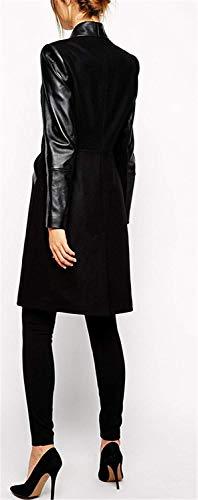 Cuir Élégant Manches Automne Survêtement Manteaux Revers Printemps Poches Simili Trench Vintage Couture Des Casual Veste Mode Avec Longue pour Coutures femmes Schwarz Coat xxZ178