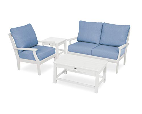 (Trex Outdoor Furniture Yacht Club Seating Set, Classic White/Cast Ocean)