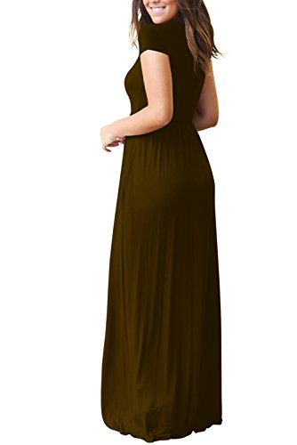 Sleeveless Dresses Women's Coffee Sleeves Maxi with Loose Hervive Racerback Pockets Plain Long Short qpat4wx1