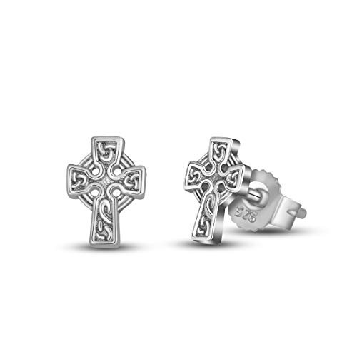Sterling Earrings Cross - INFUSEU 925 Sterling Silver Irish Celtic Knot Stud Earrings for Women (Cross)