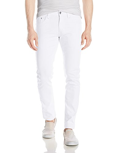 (WT02 Men's Basic Color Twill Stretch Span Pants, White(New), 38X32)