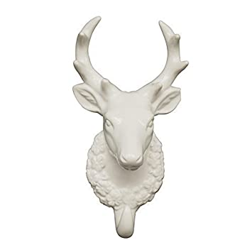 New White Porcelain Single Deer Stag Head Trophy With Hook Amazon