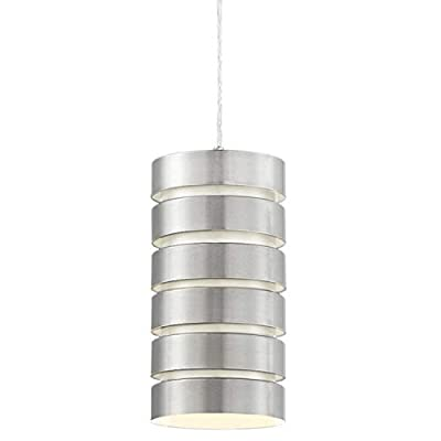 "Kira Home Aura 10.5"" Modern Industrial Pendant Light, Adjustable Wire Hanging Lamp, Brushed Nickel Steel"