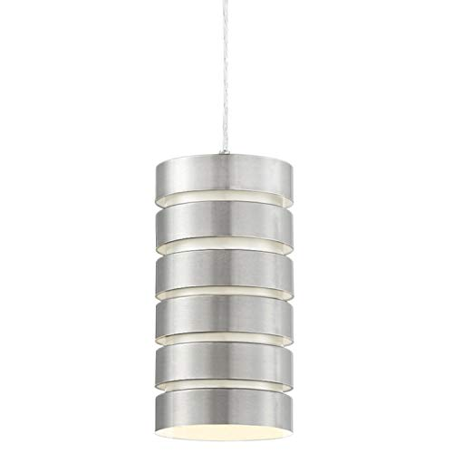 "Kira Home Aura 10.5"" Modern Industrial Pendant Light + Cylinder Metal Shade, Adjustable Height, Brushed Nickel Steel Finish"